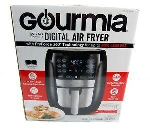 NEW Gourmia GAF698 6 Qt Low Fat Digital Air Fryer Black Stainless W FryForce 360