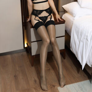 Women Glossy Oil Shiny Sheer Lace Top Thigh-Highs Silk Skinny Stockings Hold Up