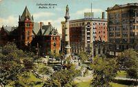 Buffalo New York~Lafayette Square~Civil War Soldiers Monument~Hotel~1910 PC