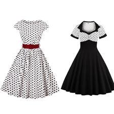 Damen Vintage Rockabilly Party Swing Kleid Polka Dots Abendkleid Tanzkleid 36-48
