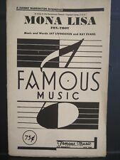 New ListingMona Lisa Jazz Big Band Chart Arrangement Orchestration Sheet Music Vg