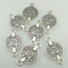 18324 25PCS Antique Silver Alloy Vintage Carve Arab Coin 28mm Connector Charm