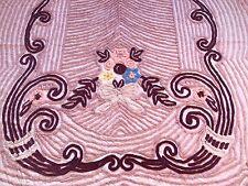 Vintage Mid Century Pink Flower Chenille Bedspread 85.5 x 98