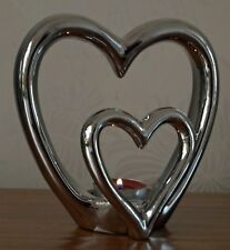 Silver Love Heart Tealight Holder Ornament Modern Home Freestanding 15cm New