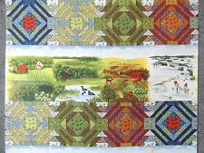 4 Seasons in the Country & Quilt Blocks Stripes Quilting Fabric by the Yard #508
