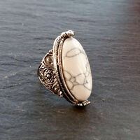 Statement White Stone Silver Ring-Boho Tibetan-Vintage Bohemian Gypsy Hippy Gift