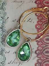Emerald Green Tear Drop Bead Dangle Hoop Earring.
