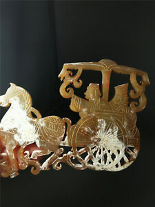 Chinese natural jade pendent horse&figure motif hand carving jade pendent