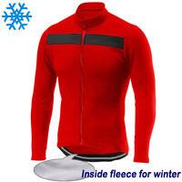 Cycling Jersey Warm Long Bib Bike Winter Fleece MTB Shirt Jacket Thermal Clothes