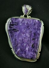Natural Charoite Pendant Sterling Silver .925 Inlaid Bail Custom Handmade