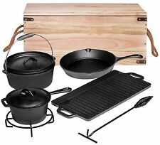 Bruntmor Pre-Seasoned 7 pc Cast Iron Dutch Oven Camping Cooking Set with BOX