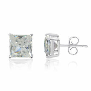 Princess Cut Square CZ Stud Earrings - Silver Plated with Rhodium Finish