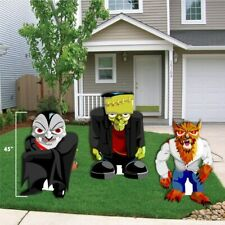 Halloween Yard Decoration Frankenstein, Werewolf, and Dracula Stand Up with ease