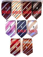 "ERMENEGILDO ZEGNA NEW CLASSIC STRIPED 100% SILK TIE MADE IN ITALY W=3 5/8"" L=58"""