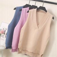 Women V-neck Sweater Vest Knitted Jumper Waistcoat Tank Top Preppy Winter Casual