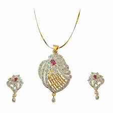Joovaa Indian CZ American Diamond Stone Studded Beautiful  Pendant Earring Set