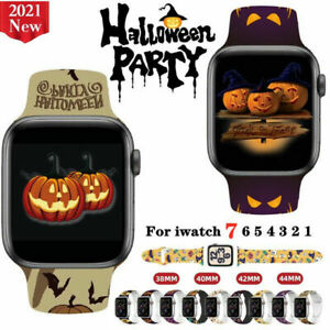 Halloween Printed Silicone Strap iWatch Band for Apple Watch Series 7 6 5 4 3 2