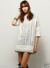 NWT Free People Mes Demoiselle ivory gray Flannel Shift Tunic Dress 38/ 6 / M