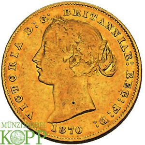 AB5300) AUSTRALIEN Victoria, 1837-1901.  Sovereign 1870 Young head GOLD