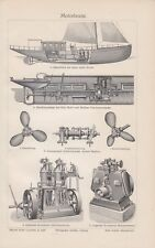 1906 Motorboote Original alter Druck Antique Print Lithographie Bootsmotor Boote
