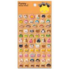 ✰ CUTE ANIMAL FACE STICKERS Puffy Vinyl Raised Sticker Sheet Scrapbook Smile Zoo