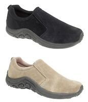 New Mens Suede Leather Casual Shoes Walking Hiking Trainers Slip On Black Honey