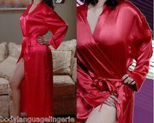 1x/2x/3x red SATIN LONG ROBE womens LINGERIE PLUS SIZE 1x/2x/3x