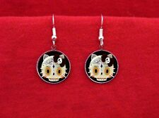 HELLO SUGAR SKULL KITTY EARRINGS DAY OF THE DEAD