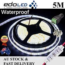 5050 SMD 5m Cool White Bright LED Strip Light 12v DC Waterproof Flexible 300led