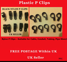 Plastic P Clips 10x Hold Down Cables Pipes Black Nylon 19mm 3//4