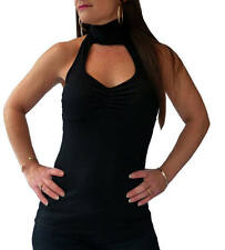 Hip Length Cotton Halterneck Party Tops & Shirts for Women