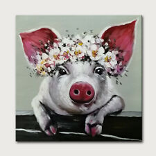 Mintura Hand Painted Oil Paintings on Canvas Cute Baby Pig  Home Decor  Wall Art