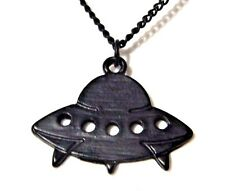 BLACK UFO CHARM NECKLACE flying saucer Roswell alien X-Files ET pendant space 1D
