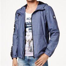 Superdry Men's Nue Wave Full-Zip Hooded Windbreaker Navy Marl Blue Jacket Large