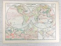 1894 Antik Landkarte Der Welt Ozean Strömungen Fluss Becken Ocean Salzgehalt