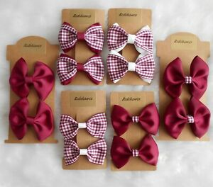 SCHOOL BOW Hair CLIPS BOBBLES BURGUNDY WINE Gingham accessories girls uniform