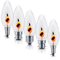 5x 3W FLICKER FLAME Candle Light Bulb CHRISTMAS Lamps E14 E27 B22 B15 240v