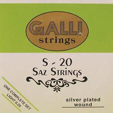 Compiacuto, baglama corde, Strings, Galli s-20 LIGHT SET 020, SILVER PLATED Wound