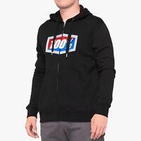 100% Percent Official Mens Zip Hooded Sweatshirt Black Size Adult XXLarge Was£70