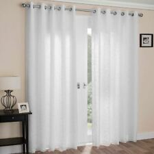 White Eyelet Curtains Embroidered Ready Made Lined Voiles Ring Top Curtain Pairs