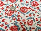 BEST Vintage Feedsack Quilt Cotton Fabric 40s Pink Red Tulips Aqua Flour Sack