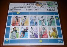 AUSTRALIA 2016 Australian LEGENDS of SINGLES TENNIS 12 stamps (Designer set)