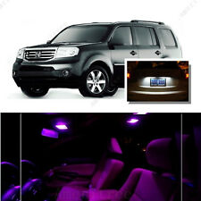 For Honda Pilot 2009-2016 Pink LED Interior Kit + Xenon White License Light LED