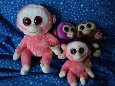 "TY Beanie Boos Crazy Monkey Lot Ruby Coconut Grapes Medium Small  6""  9"" MWT"