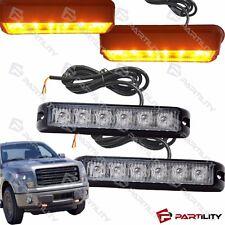 2x 6 LED Amber Warning Emergency Grill Marker Strobe Flash Light Truck Yellow