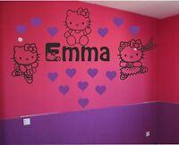 Sticker 3 Hello Kitty personnalisé prénom fille +sieurs taille et couleurs dispo