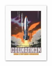 SOVIET SPACE ROCKET LAUNCH USSR Vintage Canvas art Prints