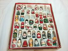 """""""Vintage Old Style"""" Miniature Wooden Toy Christmas Tree Ornaments 44 Pieces"""