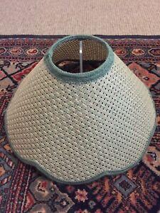 Retro Vintage Green Rattan Wicker Woven Scallop Edge Light Lamp Shade