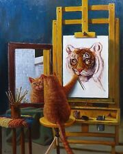 FUNNY CAT POSTER goofy silly cat drawing a tiger face self portrait animal art